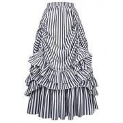 Belle Poque Women's Vintage Stripes Gothic Victorian Skirt Renaissance Style Falda - Ballerina Schuhe - $32.99  ~ 28.33€