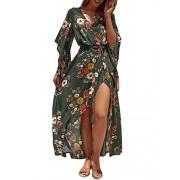 BerryGo Women's Boho Button Down Floral Beach Dress V Neck Split Party Dress - My look - $16.99