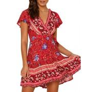 BerryGo Women's Boho Short Sleeve Floral Beach Dress V Neck Ruffle Split Party Dress - My look - $21.99