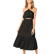 BerryGo Women's Casual 2 Pieces Halter Ruffle Dress Crop Top Maxi Skirt Set - My look - $17.99