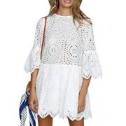 BerryGo Women's Casual Cotton Aline Dress Flare Sleeve Loose Mini Dress - My look - $25.99