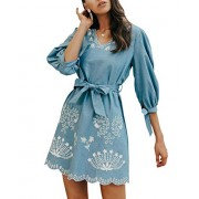 BerryGo Women's Casual Embroidered Denim Dress V Neck Belted Shirt Dress - My look - $40.99