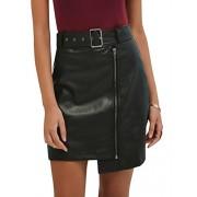 BerryGo Women's Casual High Waist Faux Leather Zipper A Line Mini Skirt - My look - $17.99