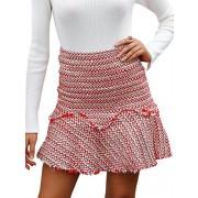 BerryGo Women's Casual High Waist Tweed A-Line Mini Skirt - My look - $17.99