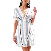 BerryGo Women's Casual Short Sleeve Striped Mini Dress Deep V Neck Dress with Ruffles - My look - $24.99