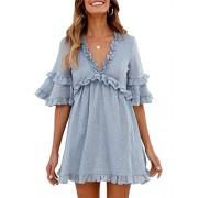 BerryGo Women's CasualVNeckA-lineRuffleDresswithSleeves - My look - $19.99