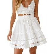 BerryGo Women's Causal High Waist Ruffle Mini Skirt A-line Flared Skater Skirt - My look - $39.99