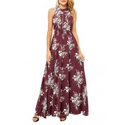 BerryGo Women's Chic Sleeveless Backless Halter Floral Print Split Maxi Dress - My look - $24.99