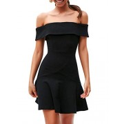 BerryGo Women's Elegant Off Shoulder A-line Dress Ruffle Cocktail Skater Dress - My look - $12.99