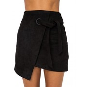 BerryGo Women's Faux Suede High Waist Wrap Party Pencil Mini Skirt - My look - $15.99