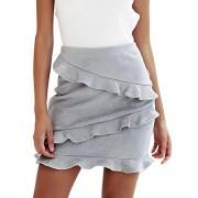 BerryGo Women's High Waist Faux Suede Ruffle Elegant Pencil Mini Skirts - My look - $18.99