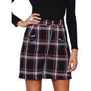 BerryGo Women's High Waist Plaid Mini Skirt Tweed A Line Bodycon Short Skirt - My look - $15.99