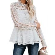 BerryGo Women's Hollow Out Lace Ruffle Blouse Long Sleeve Peplum Top Shirt - My look - $21.99