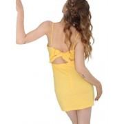 BerryGo Women's Sexy Cut Out Back Bow Spaghetti Strap Bodycon Mini Dress - My look - $17.99