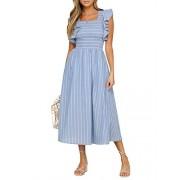 BerryGo Women's Vintage Sleeveless Striped Ruffle Cotton Midi Dress with Pocket - My look - $24.99