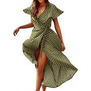 BerryGo Women's Vintage V Neck Wrap Midi Dress with Split Dot - My look - $60.99