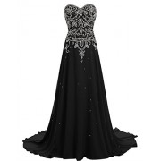 BeryLove Women's Beading Long Prom Dress Chiffon Corset Evening Gown with Train - Dresses - $189.00