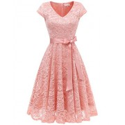 BeryLove Women's Floral Lace Short Bridesmaid Dress Cap Sleeve Cocktail Party Dress - Dresses - $34.99
