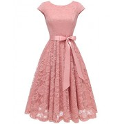 BeryLove Women's Floral Lace Short Bridesmaid Dress Cap-Sleeve Wedding Formal Party Dress - Dresses - $26.99