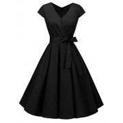 BeryLove Women's Rockbilly 1950s Vintage Dress Cocktail Swing Dress with Cap-Sleeves - Dresses - $19.99