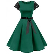 BeryLove Women's Vintage 50s Lace Sleeves Retro Rockabilly Swing Coaktail Party Dresses - Dresses - $27.99