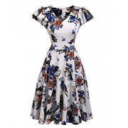Beyove Flare Dress A Line Swing Vintage Midi Dress V-Neck Ruffle Sleeve Floral Tea Dress - Dresses - $20.99