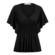 Beyove Women Slimming V-Neck Short Batwing Sleeve Smocked Empire Waist Tunic Top - Shirts - $10.99