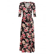 Beyove Women V Neck Wrap Tie Waist Maxi Dress 3/4 Sleeve Floral Full Long Dress - Dresses - $19.99