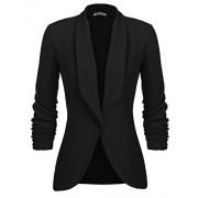 Beyove Women's 3/4 Ruched Sleeve Open Front Lightweight Work Office Blazer Jacket - Shirts - $17.00