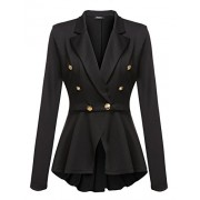 Beyove Women's Business Blazer Coat Long Sleeve Ruffles Peplum Work Office Military Jacket - Shirts - $15.99