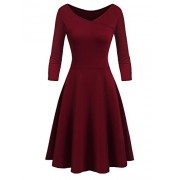 Beyove Women's Fit and Flare Dress Cap Sleeve V-Neck Swing Midi Dress - Dresses - $8.00