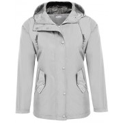 Beyove Women's Hooded Long Sleeve Zip up Rainproof Windproof Jacket Raincoat - Outerwear - $24.99