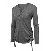 Beyove Womens Long Sleeve Thermal Cotton Henley Casual T-Shirt - Shirts - $3.49