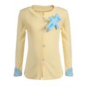 Bifast Little Girls's Spring Rhinestone Long Sleeve Sweater Doll Brooch Button Down Applique Cardigan - Shirts - $9.99