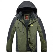 Bifast Men Casual Patchwork Mountain Waterproof Ski Jacket Hooded Windproof Coat Climbing Jackets - Outerwear - $164.99