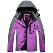 Bifast Women Casual Patchwork Mountain Waterproof Ski Jacket Hooded Windproof Coat Climbing Jackets - Outerwear - $159.99