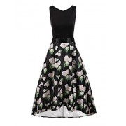 Bifast Women's V-Neck Sleeveless Hi Low Dress Floral Print A Line Midi Party Dress - Dresses - $26.99