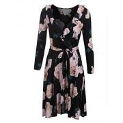 Bifast Women's Vintage Long Sleeve v Neck Floral Print Empire Flower Ruffles Midi Swing Dress With Belt - Dresses - $13.99
