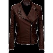 Biker Women's Brown lambskin leather Jacket - Jacket - coats - 203.00€  ~ $236.35