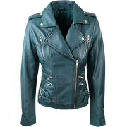 Bikers Teal Green Leather Jackets for Womens - Jacket - coats - 223.00€  ~ $259.64