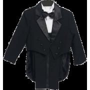 Black & White Boys & Baby Boy Tuxedo Suit, Special occasion suit, Tailcoat, Pants, Shirt, Bowtie & Cummerbund - Suits - $31.90