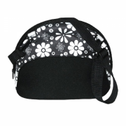 Black & White Buxton Flower Printed Lunch Bag Clutch - Clutch bags - $9.99