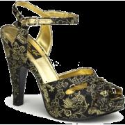 Black And Gold Fabric Platform Sandal - 10 - Sandals - $50.00