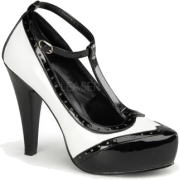 Black And White T Strap Pin Up Pump - 10 - Shoes - $54.00