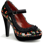 Black Patent Cherries Print Mary Janes - 9 - Sapatos - $49.30  ~ 42.34€