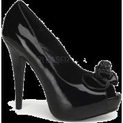 Black Patent Sexy Peep Toe Platform Pump - 10 - Sandals - $47.60