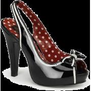 Black Patent Slingback Platform Sandal - 10 - Sandals - $44.20