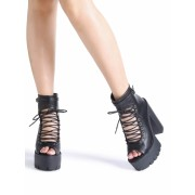 Black Peep Toe Lace Up Platform Chunky Heeled Sandals - Sandals - $41.00