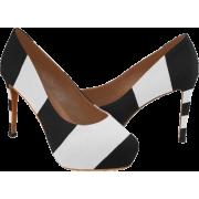 Black White Stripes High Heels - Shoes - $50.75