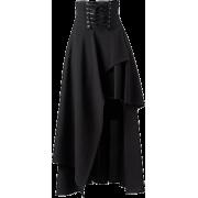 Black Bandage Asymmetrical Skirt - Skirts -